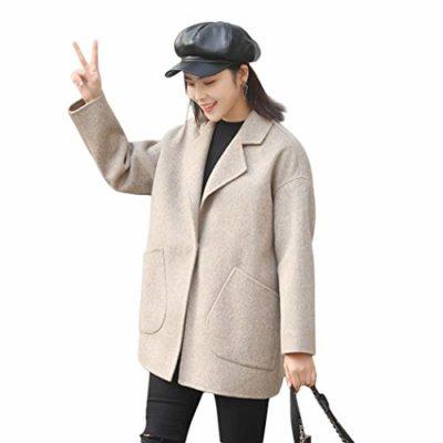 b0fd6ed168d Sólido Traje De Cuello Abrigo De Cachemira para Mujer De Manga Larga para Mujer  Abrigo De Lana Clásico Elegante Traje