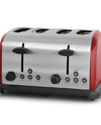 Klarstein BT-211-B - Tostadora (4 tostadas, 1650 W), color rojo y acero