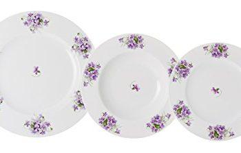 La Cija Violetas - Vajilla clásica de porcelana 12 piezas, color blanco