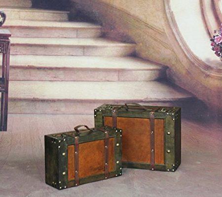 vintiquewise maleta de estilo antiguo/caja (con correas, madera, envejecido marrón, Set de 2