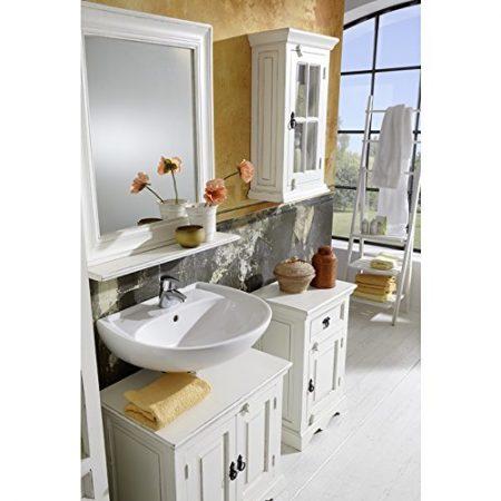 Sit-muebles baño con gabinetes y espejo blanco Vintage Malaga