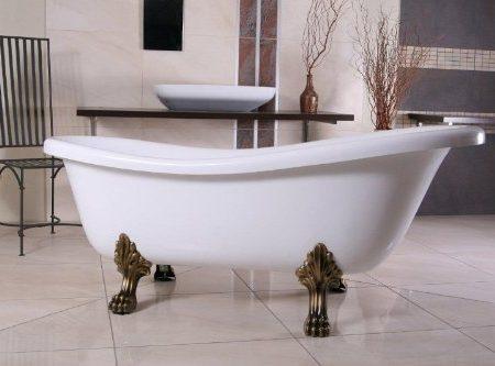 Independiente de baño de lujo Nouveau Roma Blanco / Oro Viejo 1695mm - baño barroco - bañera antigua retro