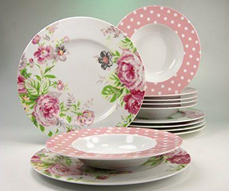 Creatable 16667Serie Amelia rosas, Vajilla, 12piezas, porcelana, blanco, 32x 24x 32cm