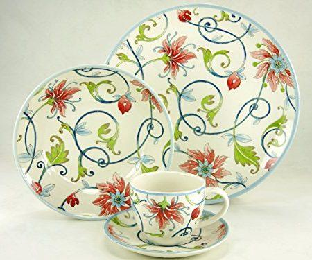 Creatable 19713Serie botonical espiral, Vajilla, porcelana, multicolor, 40x 32,5x 32,5cm, 30unidades