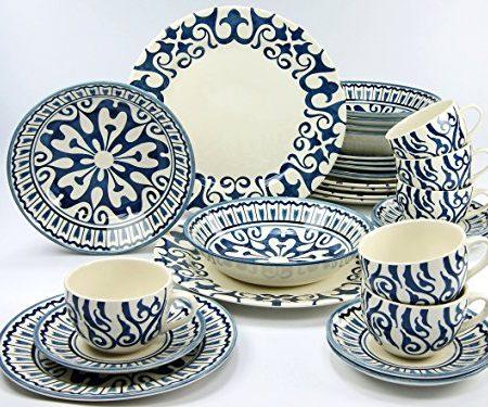 Creatable 19714Serie Henna, Vajilla, porcelana, azul, 40x 32,5x 32,5cm, 30unidades