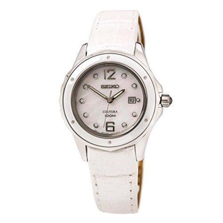 Seiko SXDE79P2 - Reloj con correa de piel para mujer, color nácar / gris