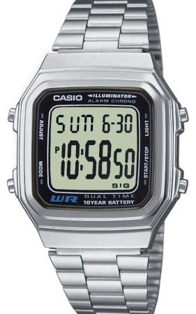 CASIO Collection A178WEA-1AES - Reloj unisex de cuarzo, correa de acero inoxidable color plata