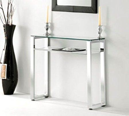 Adec - Recibidor entrada patas benetto, medidas 90 x 30 x 80 cm, color blanco y acero