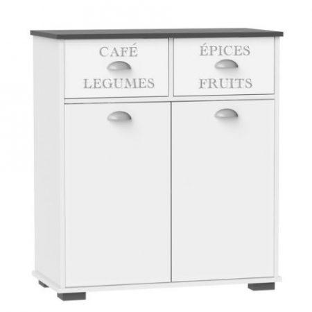 Suarez - Mueble bajo 2 cajones 2 puertas, medidas 80 x 40 x 90 cm, color blanco-gris