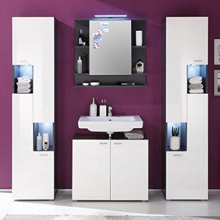 Trendteam 1330-301-03 Tetis - Armario bajo lavabo (72 x 63 x 35 cm, efecto madera), color gris grafito y blanco satinado