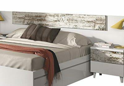 Cabezal con 2 mesitas en blanco brillo y vintage para dormitorio de matrimonio, 100x247x34cm