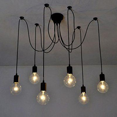 Lixada Luz Lámpara del Techo Candelabro Iluminación Retra Antigua Colgante Clásica Ajustable DIY con 6 Brazos de Araña para Bombilla E27 para Comedor Hotel Etc.(Cada cable 1.7m)