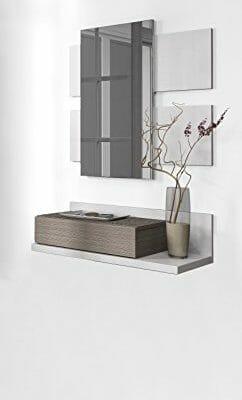 Mueble recibidor con cajón y espejo incluido color blanco brillo y fresno para colgar en pared de entrada (medida: 81cm de ancho x 116cm altura x 29cm fondo)