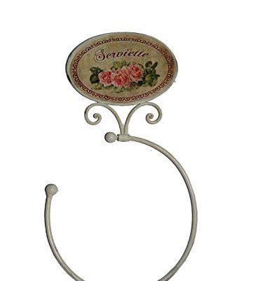Francés Shabby Vintage Chic Le Rose Rosa Blanco Metal toallero de anilla soporte