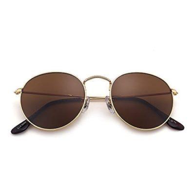 b81338e6fa Gafas de Sol Redondas Clásico de Espejo Para Hombre Mujer UV400 Marco de  Metal Vintage Steampunk Marrón