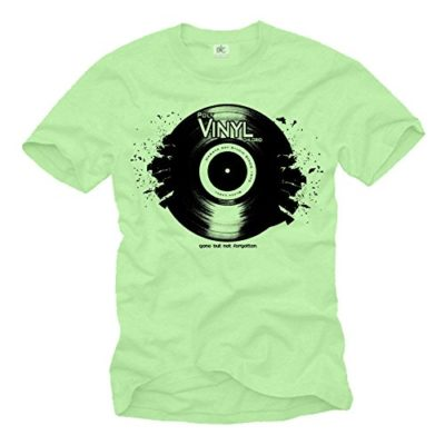 Camiseta de Musica Electronica Hombre - Vintage Vinyl Dj - Verde L