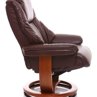 Sillón The Emperor - silla giratoria reclinable de cuero y reposapiés a juego en color Marón