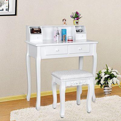 Songmics Taburete tapizado para tocador banco de madera color blanco RDS45W
