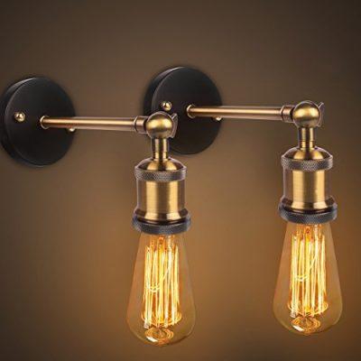 Apliques de pared vintage industrial Cobre El Cabeza Luces de pared Ajustable E27 Socket para la casa, bar, restaurantes, cafetería, club Decoración (110-230V, bombillas no incluidas)