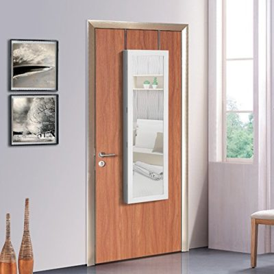 Songmics Joyero Espejo Armario Guardajoyas con cerradura Montado en pared Colgado en Puerta Luz LED JBC93W