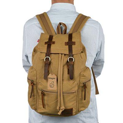 gibgas Mujer Hombre Mochila de lona Vintage daypacks Retro Back Packs para estudiantes Uni Viajes Outdoor Sports Senderismo con gran capacidad (4colores) turquesa caqui