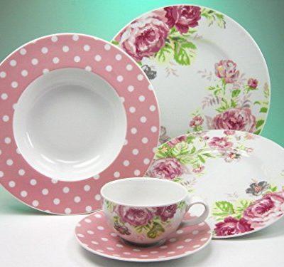 Creatable 16668Serie Amelia - Vajilla, 30piezas, porcelana, diseño de rosas, multicolor, 46x33x33cm
