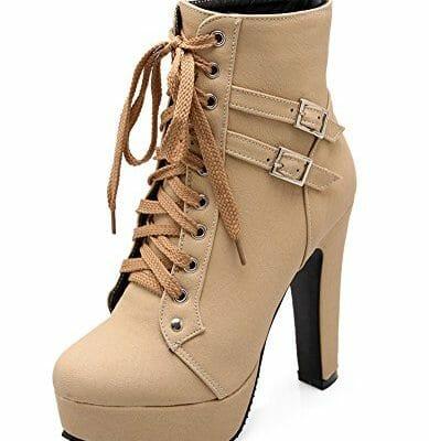 5a41353734d Minetom Mujer Moda Otoño Invierno Puntera Redonda Estiletes Cremallera Lace- Up Tobillo Botas Color Sólido Zapatos de Tacon Beige EU 37