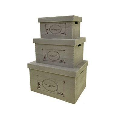 Rebecca Srl Set 3 Cajas Contenedor Cestas Tapa Madera Clara Negro Casa De  Campo Vintage Almacenamiento Bano Dormitorio Cocina (Cod. YY20151015)