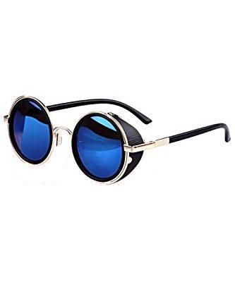 SODIAL(R)Gafas de sol de Steampunk clasica Redonda de Estilo vintage de los anos 80 - Azul con el borde del oro