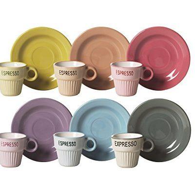 Color Life Set Taza De Cafe con Plato 6 Piezas Vintage Multicolor