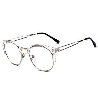 Forepin® Unisex Montura de Gafas Vintage para Hombre y Mujer Retro Transparente con 1/2 Marco de Metal-acero Fino Lente Visión Clara - Transparente