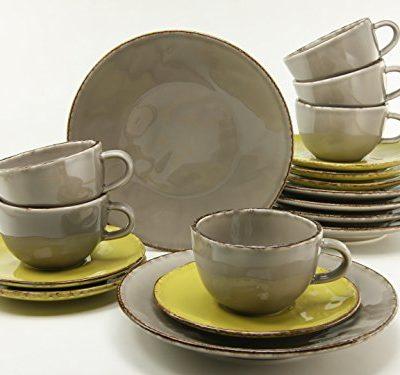 Creatable 14342Serie Organic Elements, Vajilla, 18piezas, porcelana, barro/verde, 34x 30x 26,5cm, 18unidades